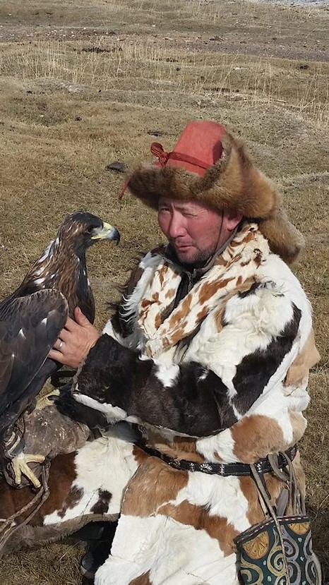 Eagle with hunter in Mongolia.