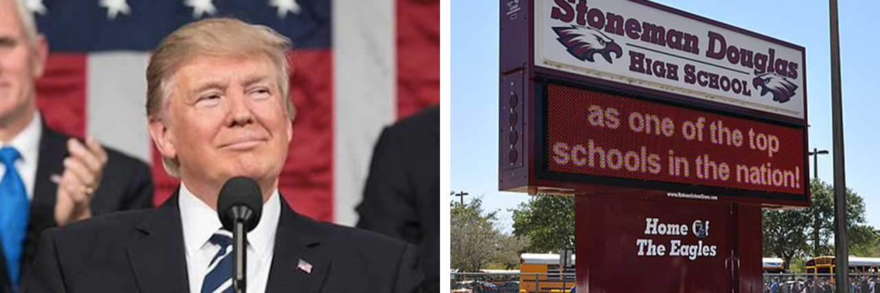 On the left, a picture of President Trump. On the right, a picture of a sign from Stoneman Douglas High School