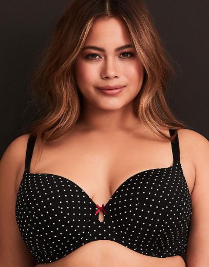 torrid bra with black and white polka dot design