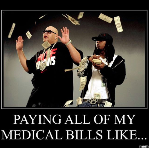 paying all of my medical bills like... two men making it rain with cash