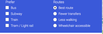 Screen where users can select a wheelchair route.