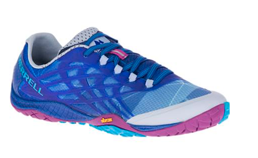 blue and pink merrell trail running shoe