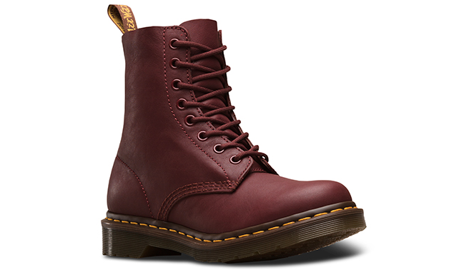 dr martens boots in dark red