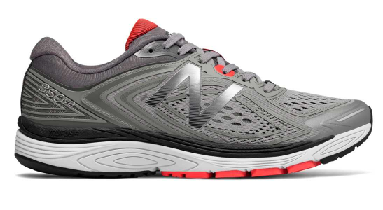 new balance running shoe in gray and red