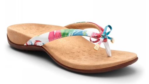 vionic brand sandal with flowered strap and bow