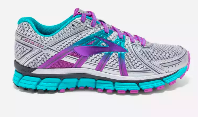 brooks brand walking shoe in purple gray and blue