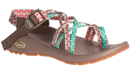 chacos sandals in green and red