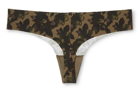 target thong style underwear with black floral pattern