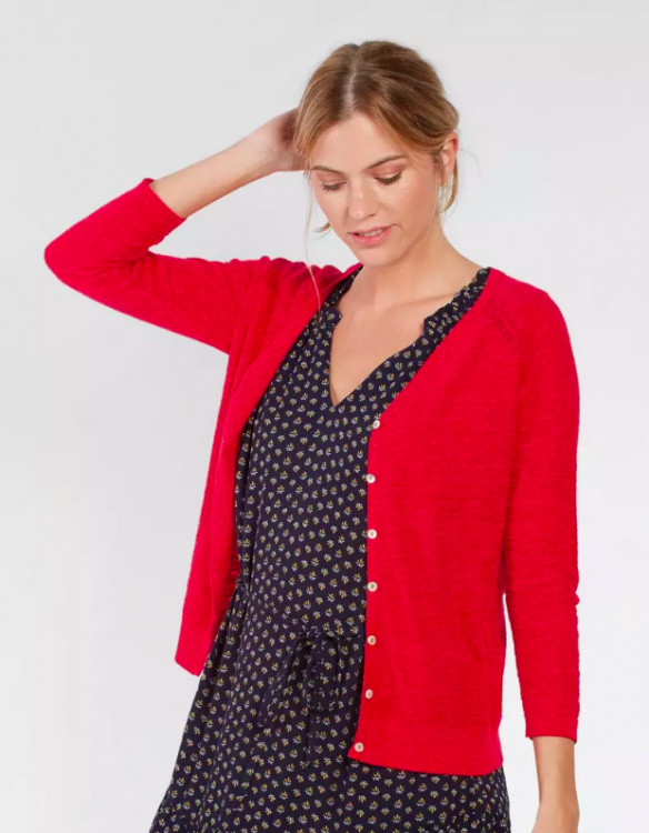 red cotton cardigan from fatface