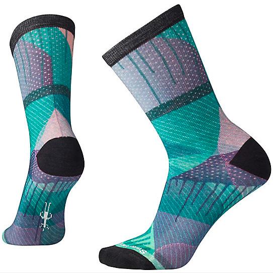 blue and green geometric smartwool socks