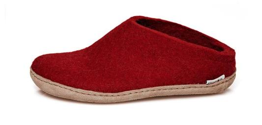 glerups red felt slipper