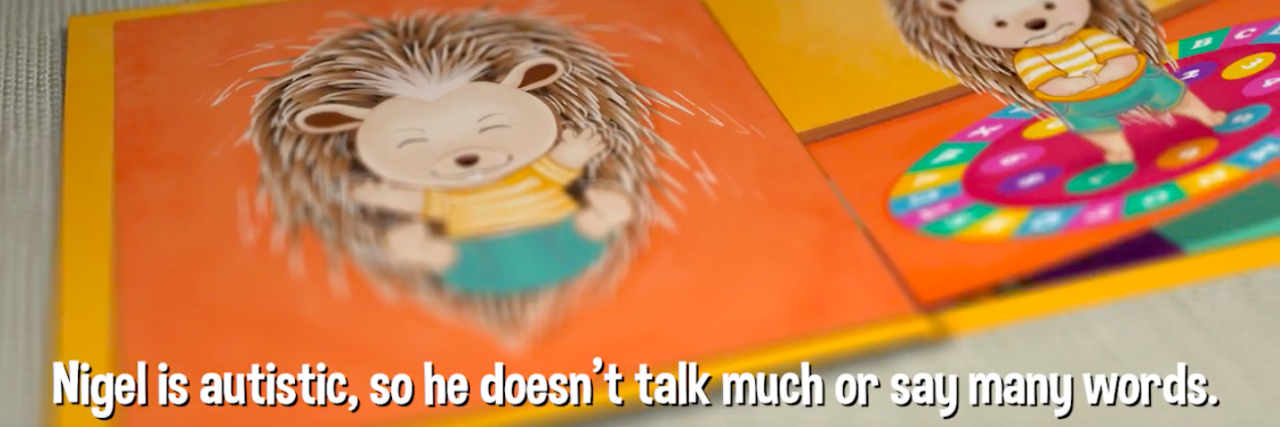 Screen shot of the book showing Nigel the hedgehog