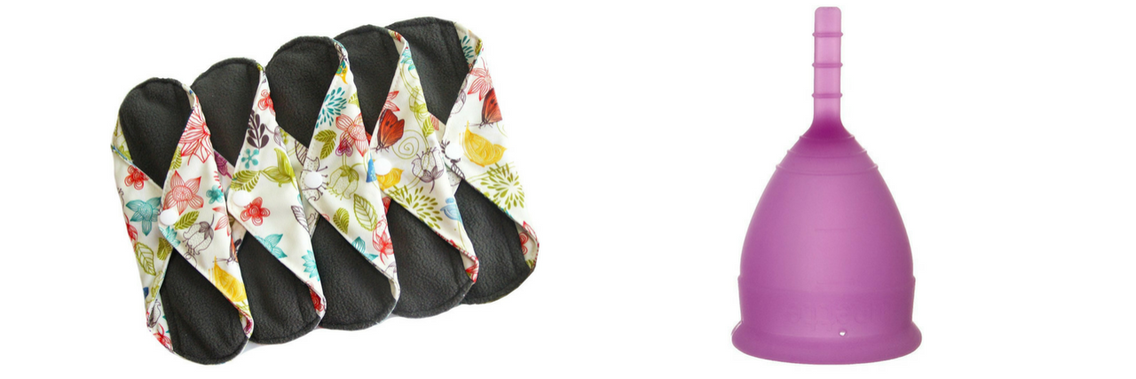 reusable cloth menstrual pads and the lunette cup