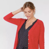red cotton cardigan from fatface and men's shirt from target