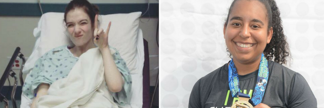 left photo shows a woman lying in a hospital bed giving the 'rock n roll' sign, and the right photo shows a woman holding up a medal after running a half-marathon