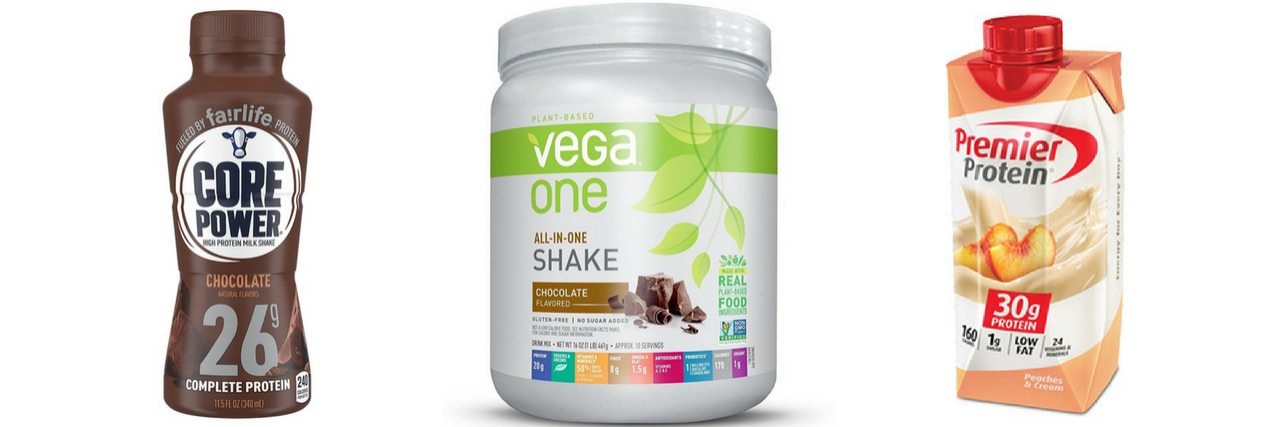 core power nutrition drink, vega one powder, and premier protein drink