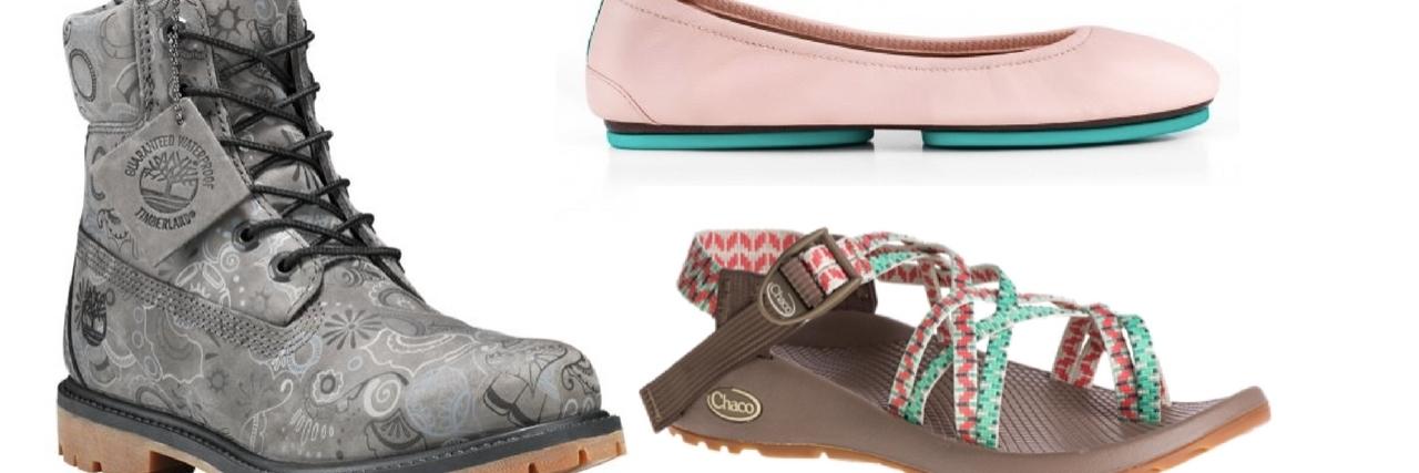 timberland boot, tieks flat and chacos sandal