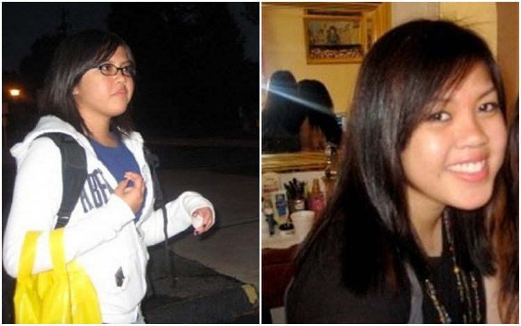 two photos of young woman
