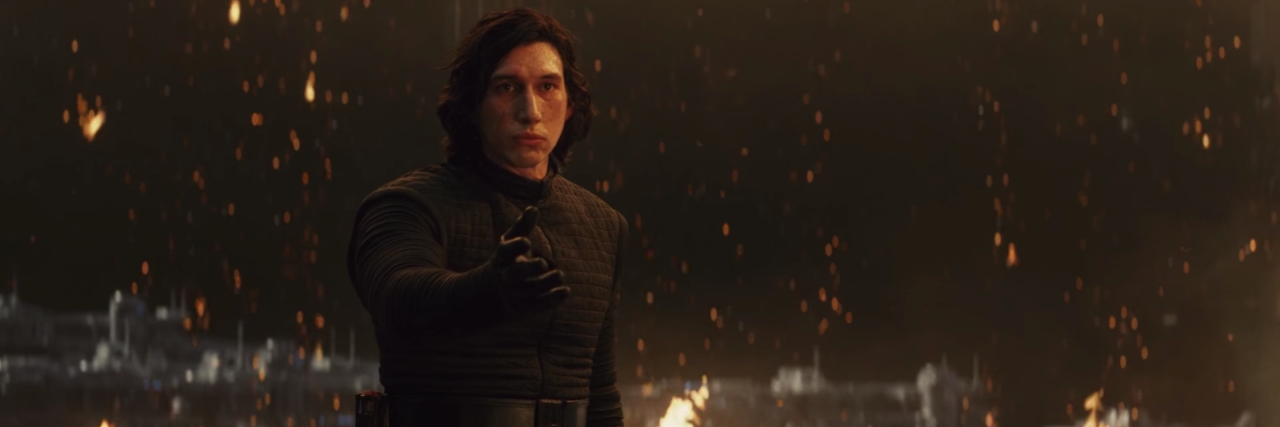 adam driver as kylo ren in star wars the last jedi asking Rey to join him