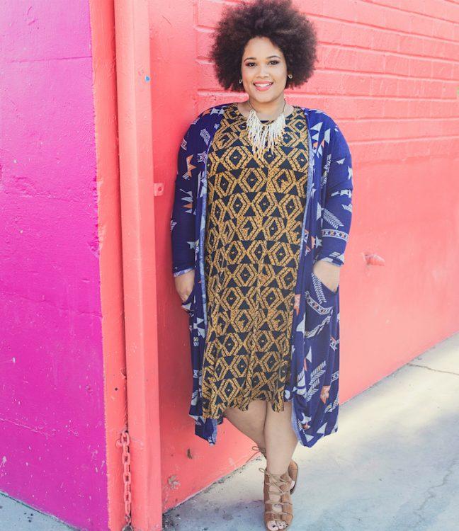 woman wearing a lularoe dress and jacket