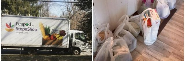 peapod truck and bags of food in kitchen