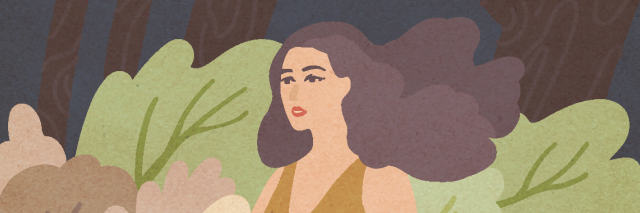illustration of woman in trees with hair flowing