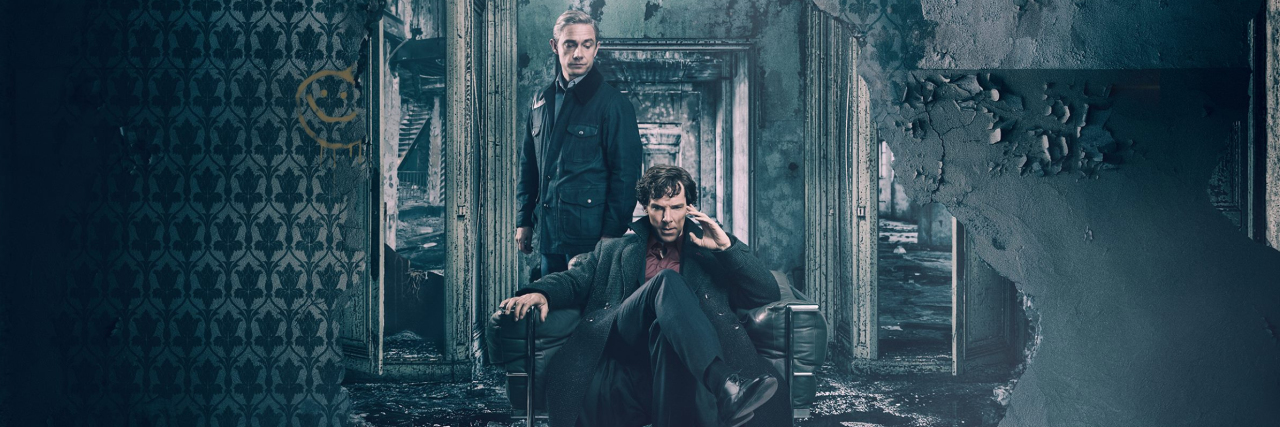 BBC Sherlock played by Benedict Cumberbatch while John Watson (Martin Freeman) stands nearby, both in ruined house