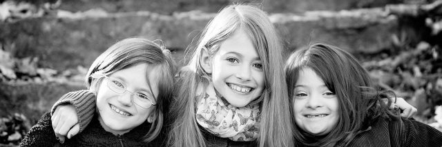 Black and white image of three sisters