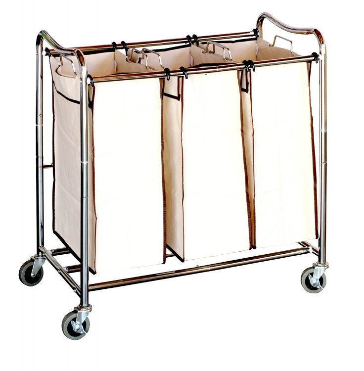 rolling laundry sorter cart with three sections