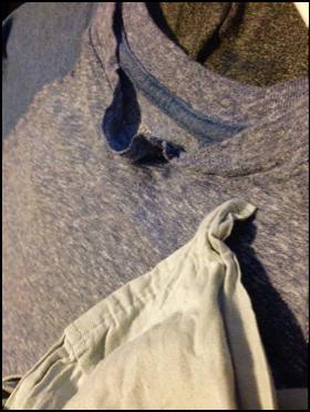 chewed neckline on t-shirt