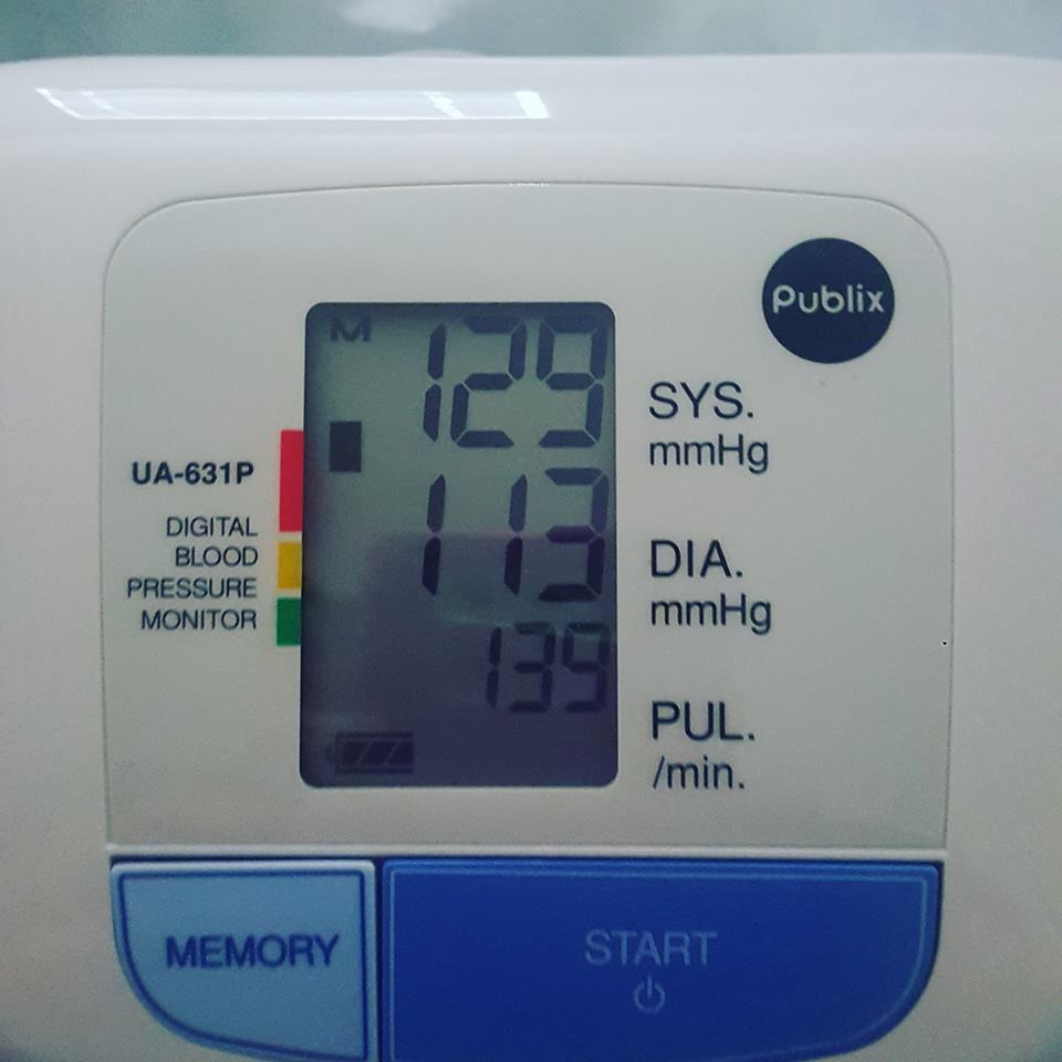 blood pressure monitor that reads 129 over 113
