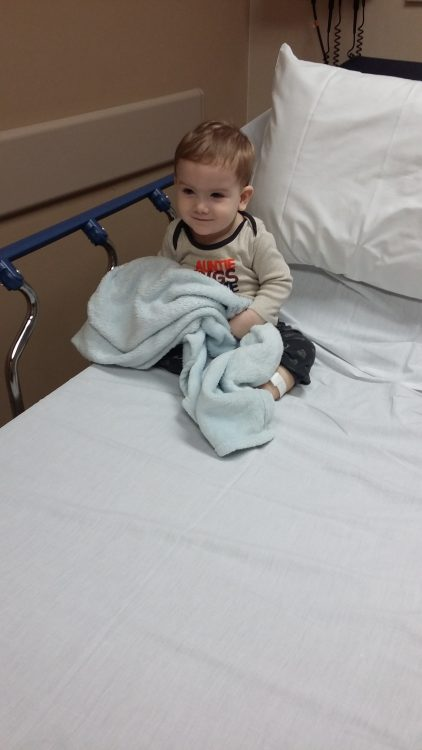 The author's son in a hospital bed