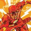 An illustration of The Flash, surrounded by lightening bolts as he runs.