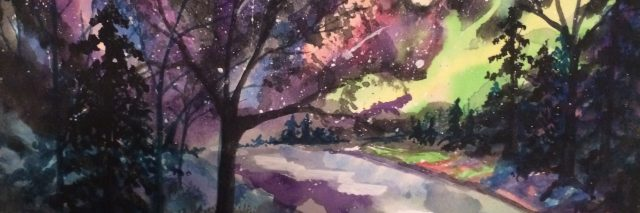 colorful painting of tree beside road at night by person with dissociative identity disorder