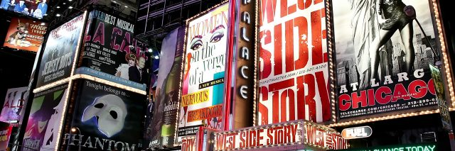 Broadway theater billboards in Times Square.