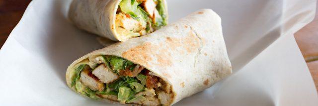 Chicken Caesar salad sandwich wraps