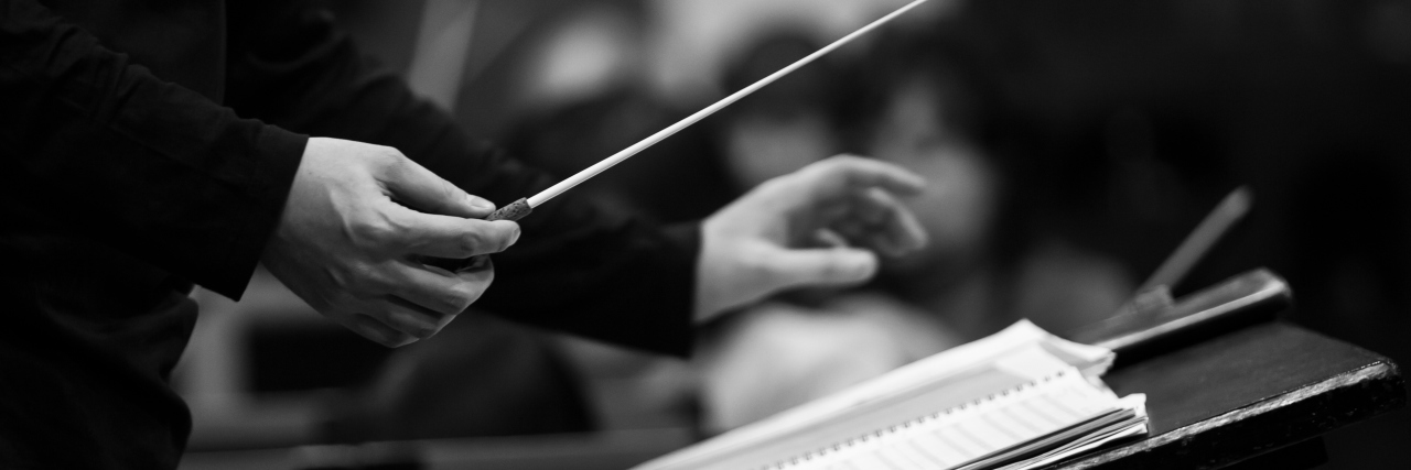 black and white photo of a conductor