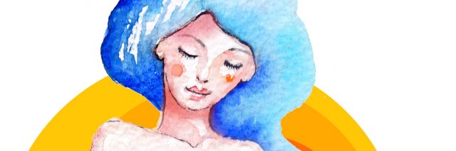 Watercolor illustration representing young girl as a queen of the sea. Her long hair are represented like wave with sailing boat and a whale. Behind her is a big hot summer sun.