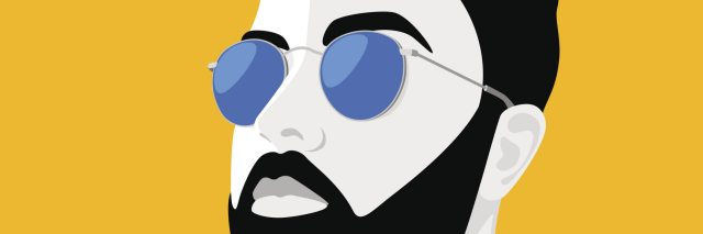 illustration of man with a bear wearing sunglasses and a blue shirt against a yellow background