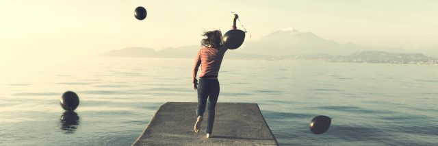 A woman running on a dock