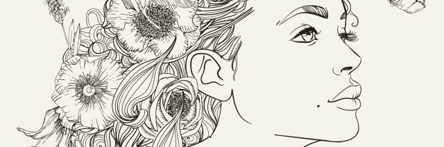black and white illustration of a woman with flowers in her hair looking at a butterfly