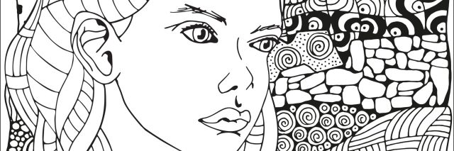 black and white drawing of woman against a patterned background