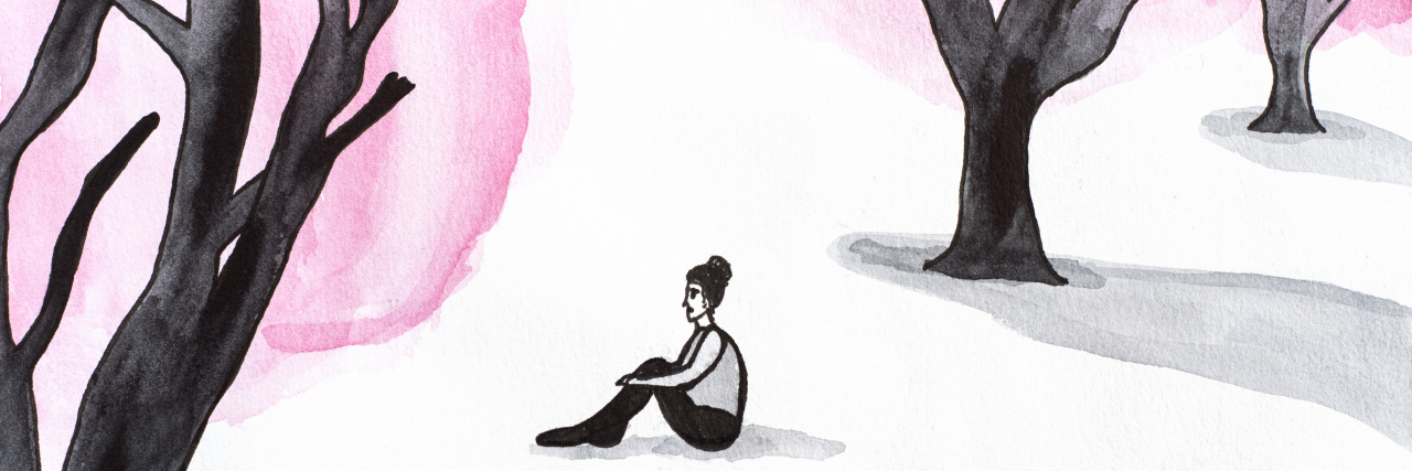 Watercolor illustration of lonely woman in the forest.