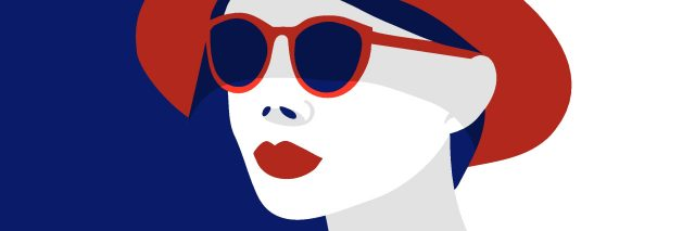 blue and red illustration of a woman wearing a hat and sunglasses