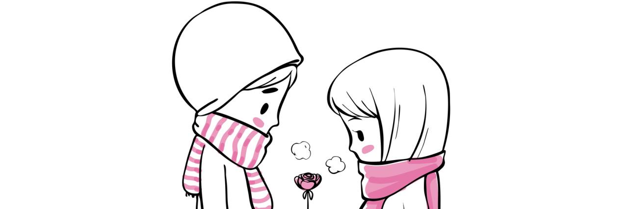 A sketch of a boy giving a girl a rose.