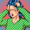 colorful illustration of woman with blue hair wearing a green shirt holding her head in frustration