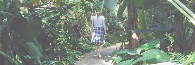 woman walking down a path in a forest surrounded by leaves