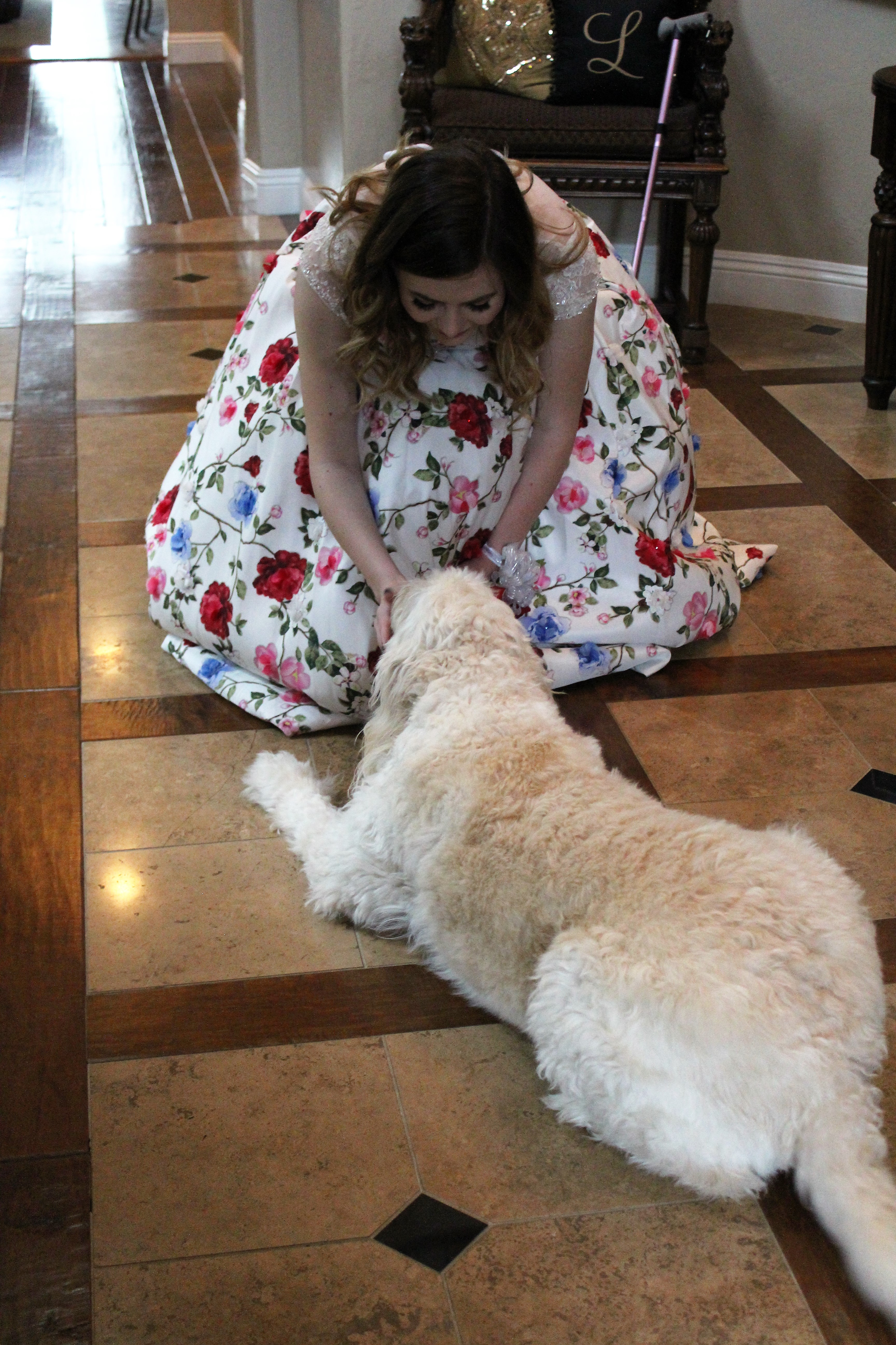 The writer petting her doc while in a prom dress.