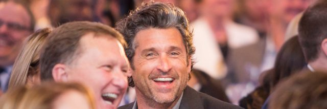 Patrick Dempsey with Bryan Neider CEO of Gatepath at table laughing