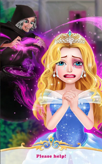 """An image from the game, showing the witch """"cursing"""" the princess with a purple spot on her eye."""